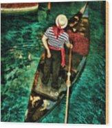 Boat Of Venice Wood Print