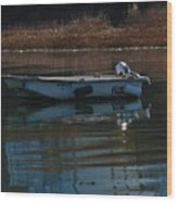 Boat On A Calm Day Wood Print