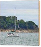 Boat On A Lake Wood Print