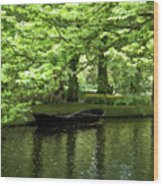 Boat On A Lake Wood Print