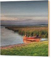 Boat On A Minnesota Lake Wood Print