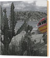 Boat On Beach Wood Print