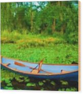 Boat On Bryant Pond Wood Print