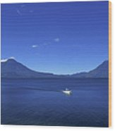 Boat On Lake Atitlan Guatemala Wood Print