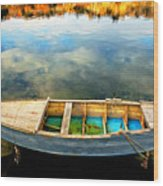 Boat On Lake Wood Print