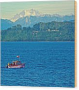 Boat On Llanquihue Lake From Puerto Varas-chile Wood Print