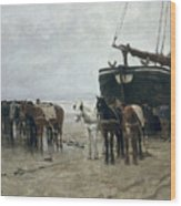 Boat On The Beach At Scheveningen Wood Print by Anton Mauve