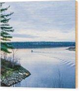 Boat On The Lake Wood Print