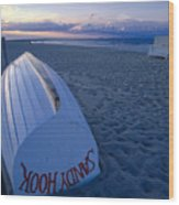 Boat On The New Jersey Shore At Sunset Wood Print