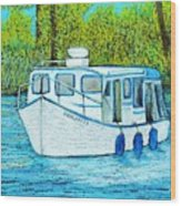 Boat On The River Wood Print