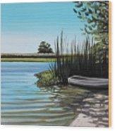 Boat On The Shadowed Beach Wood Print