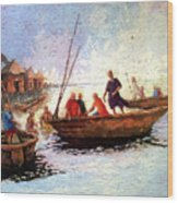 Boat Peaple Wood Print
