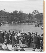 Boat Races In Central Park Wood Print