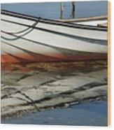 Boat Reflected Wood Print
