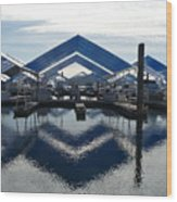 Boat Reflection On Lake Coeur D'alene Wood Print