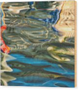 Boat Reflections - Hvar Croatia Wood Print