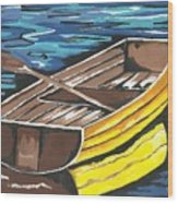 Boat Reflections Wood Print