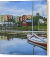 Boat Reflections Of Fernandina Beach Wood Print