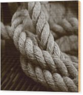 Boat Rope Sepia Tone Wood Print