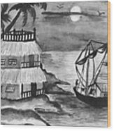 Boat Sailing In Moon Light Wood Print