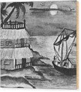 Boat Sailing In Moon Light Wood Print