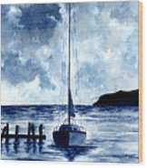 Boat Scene - Blue Sky Wood Print