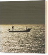 Boat Silhouette In Sunrise At Marina Beach, Chennai Wood Print