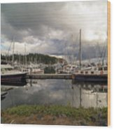 Boat Slips At Anacortes Marina In Washington State Wood Print