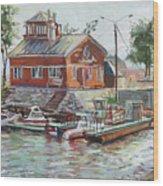 Boat Station On Krestovsky Island In St.-petersburg Wood Print