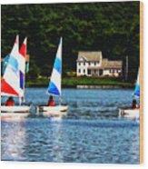 Boat - Striped Sails Wood Print