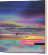 Boat Sunset Wood Print