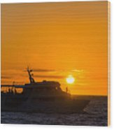Boat Sunset Silhouette Wood Print
