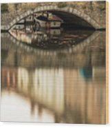 Boat Waddling On Water Channels Of Bruges, Belgium Wood Print