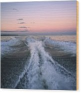 Boat Waves Wood Print