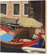 Boat With Umbrella On Canal In Venice Wood Print