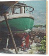 Boat Yard Boat 01 Wood Print