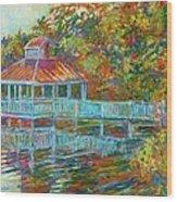 Boathouse At Mountain Lake Wood Print