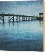 Boathouse Blue Wood Print