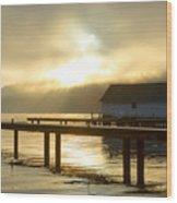 Boathouse Daybreak Wood Print