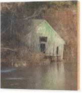 Boathouse On Solstice Wood Print