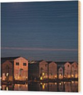 Boathouse Reflections With Moonset Wood Print