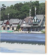 Boathouse Row - Palette Knife Wood Print
