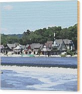 Boathouse Row 2 - Palette Knife Wood Print