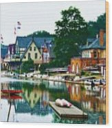 Boathouse Row In Philly Wood Print by Bill Cannon