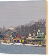 Boathouse Row On A Winter Morning Wood Print