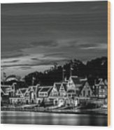 Boathouse Row Philadelphia Pa Night Black And White Wood Print