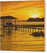 Boathouse Sunset Wood Print