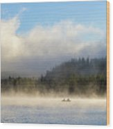 Boating At Trillium Lake One Foggy Morning Wood Print