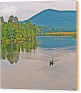 Boating On Connecticut River Between Vermont And New Hampshire Wood Print