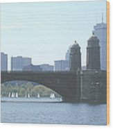 Boating On The Charles Wood Print by Laura Lee Zanghetti